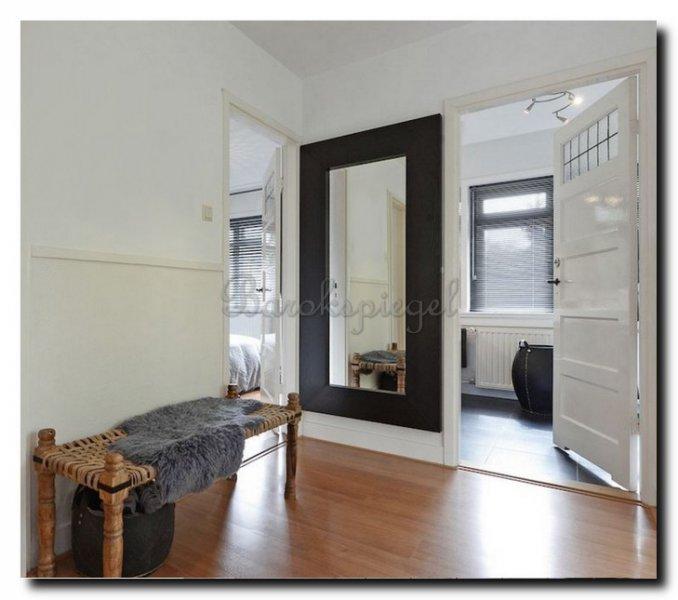 Spiegel romano buitenmaat 94x154cm barokspiegel for Spiegel met zwarte lijst